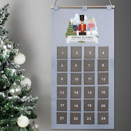 Nutcracker Advent Calendar In Silver Grey